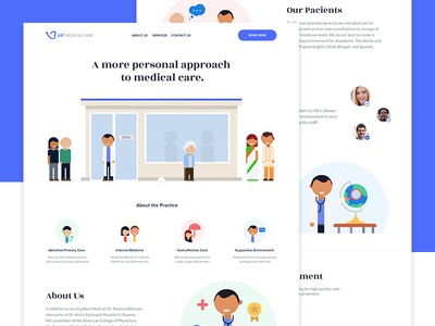 Beat Medical Care - Landing Page landing page hospital buildings icons illustration main page web page colors care medical
