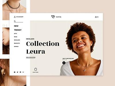 Gewia Jewelry ux ui fashion web minimal ecommerce shop landing page jewerly