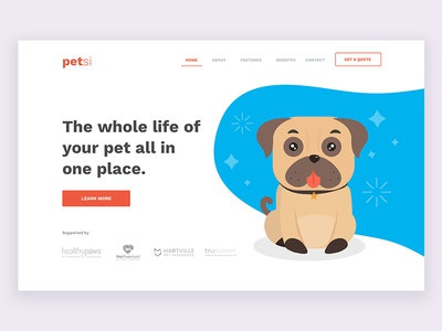 Pets Insurance Landing Page health pug illustration ui website web page landing insurance pets