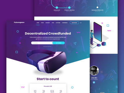Crowdfunding Landing Page virtual reality investment coin blockchain crowdfunding illustration ux ui web landing page vr future