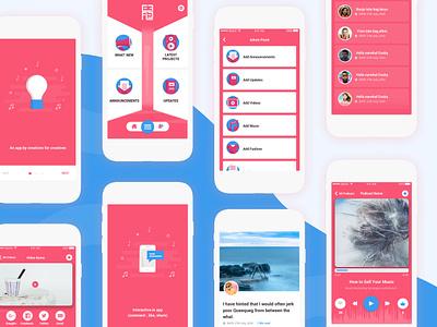 Effel Network App white blue red design mobile app media app icon ios app blog people podcast video music app