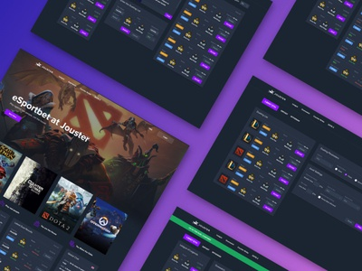 eSportbet - Jouster crypto trading gaming dark design ui  ux web application app landing page betting esport