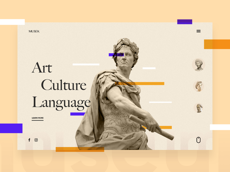 Musek - Museum page concept typography minimal landing web ui statue museum homepage design art
