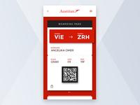 Boarding Pass code ticket plane austrian trip travel boarding pass flight qr airline app ui