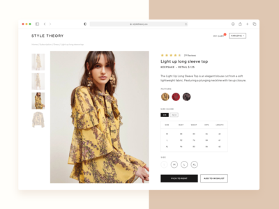 🥻 Style Theory - Product Details Page clean affordance signifier web luxury rent app rent luxury fashion e-commerce ecommerce visual design figma product product card fashion web fashion app fashion product detail page product details page product page