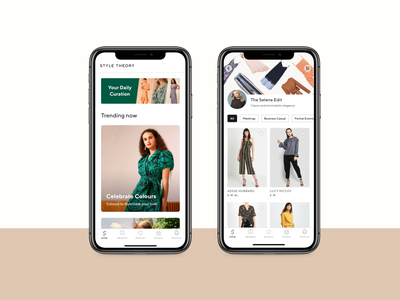 💠 Style Theory - Home and Product List Page filters list view list page product list page fashion app product card product figma visual design e-commerce luxury fashion rent rent app luxury app affordance signifier clean