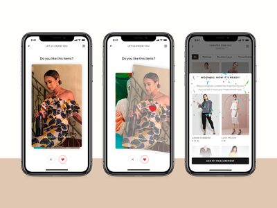 ❤️ Style Theory - Personalization grid view e commerce confetti personalizations recommendations luxury app rent fashion app fashion app usability testing affordance user interface saas signifier real project clean