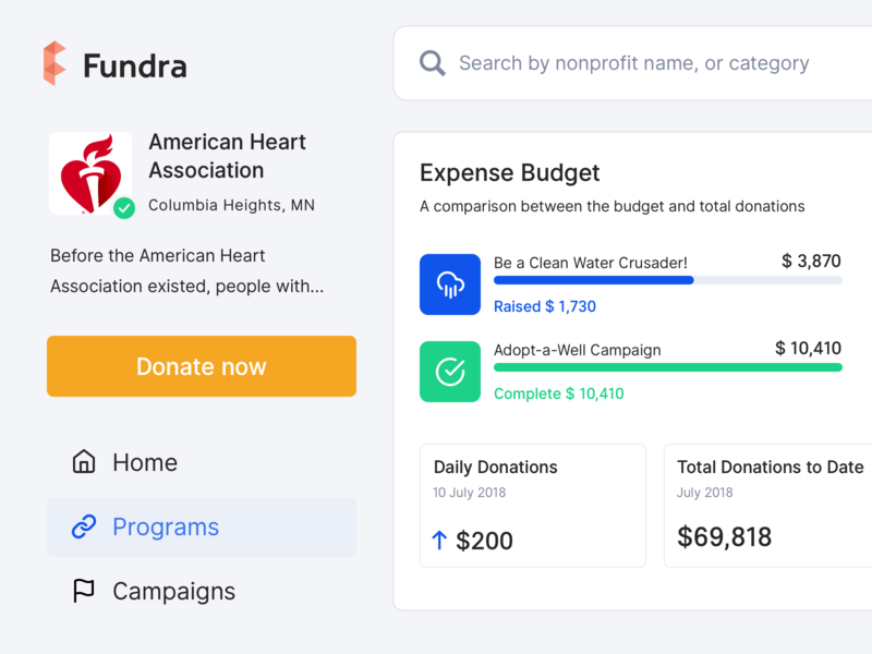 Online Fundraising - Nonprofit Profile real project usability signifier affordance search bar saas track expense budget user interface product clean web design donations campaigns budget fundraise nonprofit fundraising website dashboard