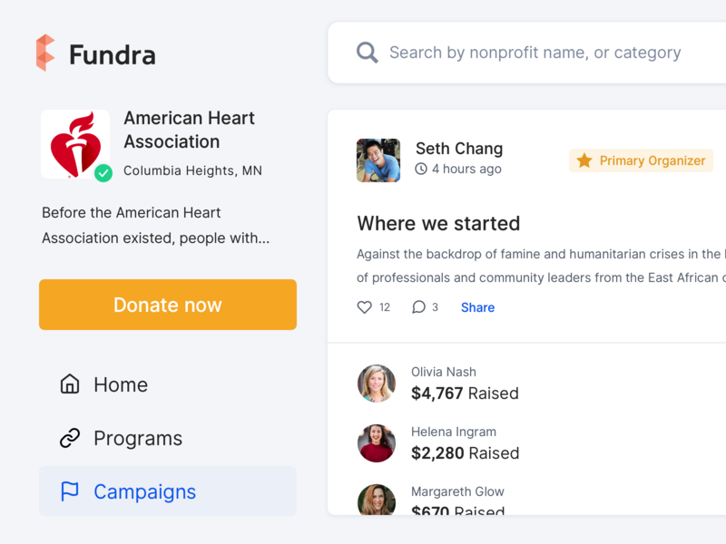 Accountable fundraising for nonprofits - Campaigns real project usability signifier affordance organization organizer search wishlist campaigns donations fundraising nonprofits product user interface charity donate design ui design web design saas