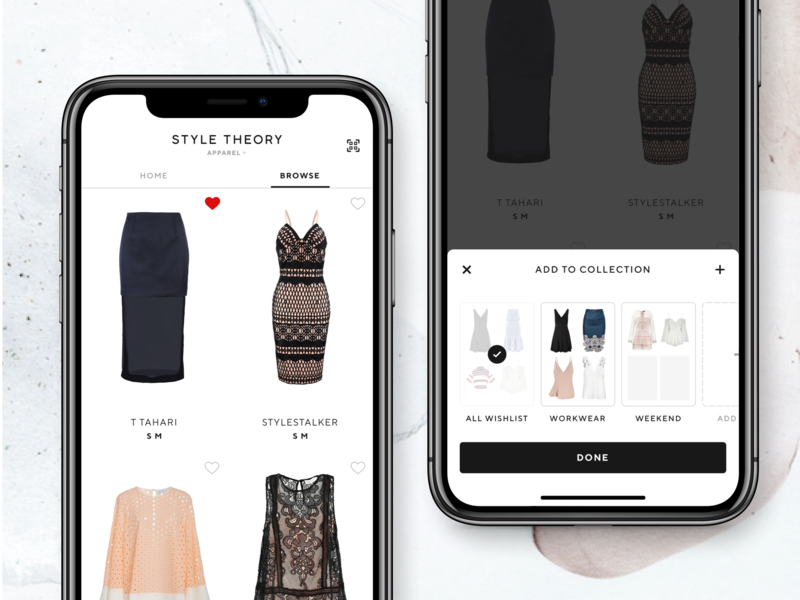 Wishlist - Add to collection real project closet bottom sheet saas lifestyle bookmark collection wardrobe rent style theory dress clothes female ios app fashion iphone x minimal clothing likes wishlist