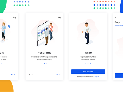 Onboarding affordance onboarding mobile app ios app ux design ui design ux ui saas real project signifier track user interface clean donations budget fundraise nonprofit donors funds