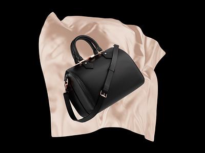 Fashion promo shot gold black fashion bag motion graphics branding graphic design loop animation design cinema4d blender 3d