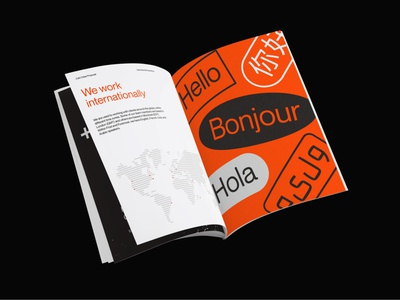 First and Foremost Proposal Layout magazine book orange world cup map world map international languages red minimal typography
