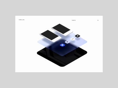 Corellium Ecosystem Diagram flat typography minimal blue shapes illustration ui layers 3d animation 3d