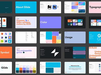 Glide Brand Guidelines ui logo illustration design landing blue shapes minimal typography animated brand guidelines animated brand guidelines brand guidelines branding