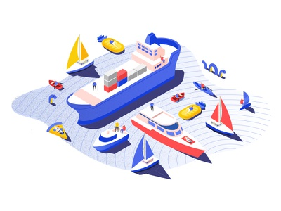 PORT Landing Page Illustration shapes patterns minimal icon geometry flat water people boats 2d