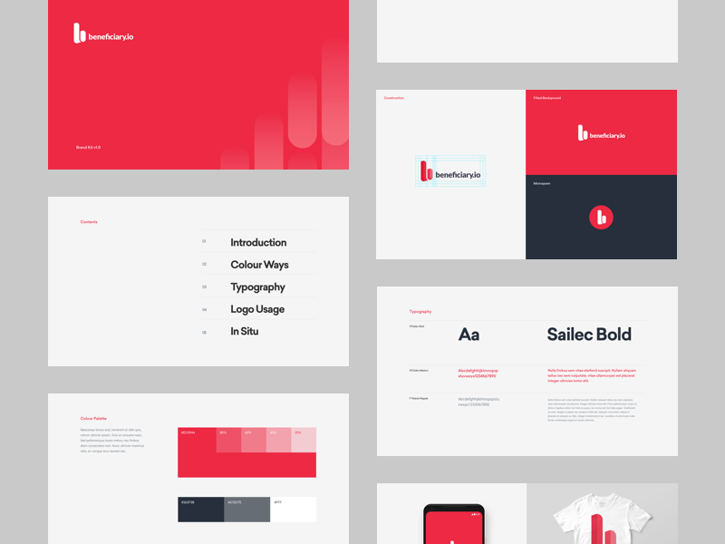 Beneficiary.io Brand Kit layout style pages guide guidelines patterns type red kit brand branding