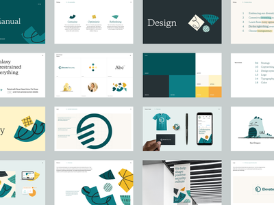 Elevate Security Rebrand — Brand Guide typography brand identity designer yellow logo dinosaur dragon patterns shapes yellow moss teal green branding brand guide brand identity brand design