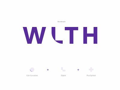 WLTH Logo brand identity purple wordmark logotype digital banking challenger bank bank branding brand logo