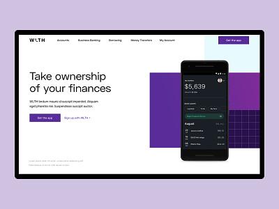 WLTH Landing page UI mauve purple gradient purple logo ui typography landing page design pattern blocks purple minimal landing page ui landingpage
