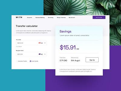 WLTH Calculator teal purple startup fintech bank finance calculator minimal ui