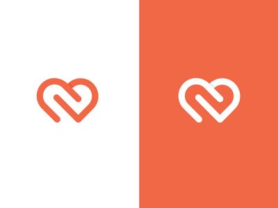 CD Monogram For Heart lined icon symbol mark logtype logo love heart d c