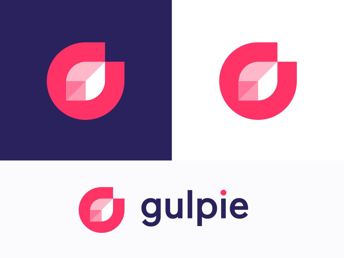 Gulpie Logo g leaf blockchain block food branding vector abstract typography design elegant brand monogram icon logotype minimal symbol mark logo