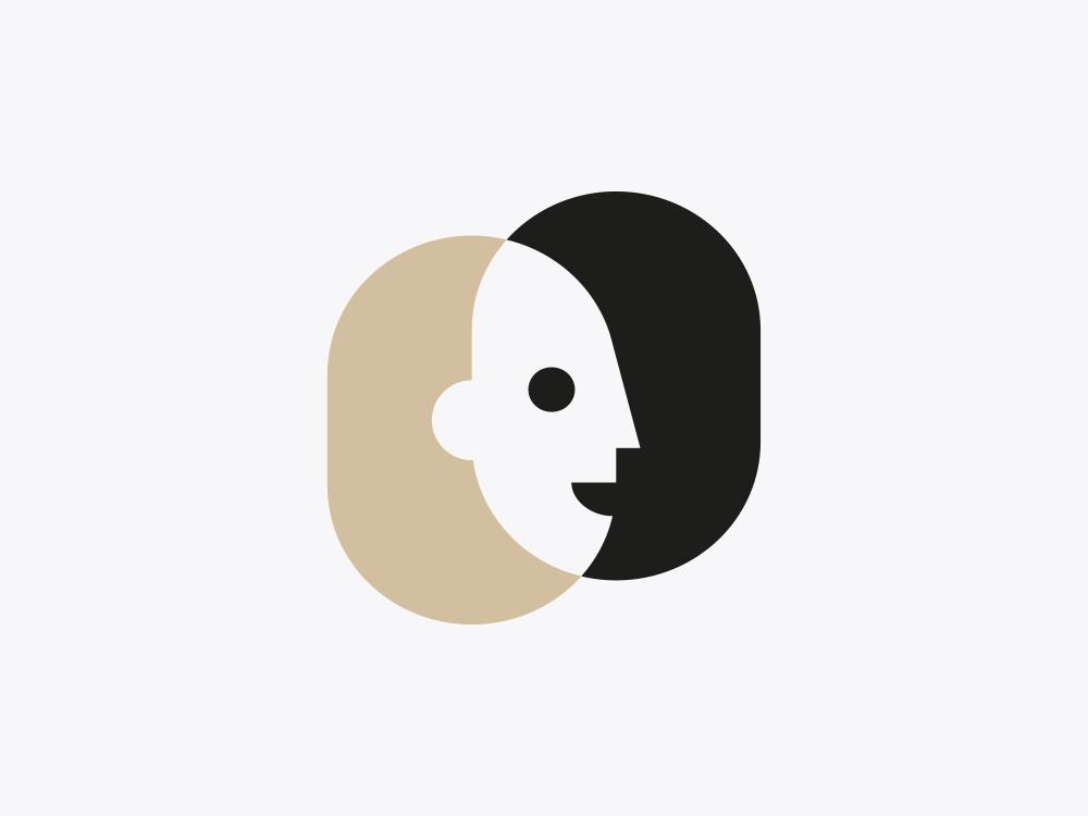 Two Faces logo mark symbol human smile head negative space face