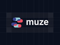 Muze logo grid chat bubble chat typography vector branding abstract brand design logotype minimal symbol mark logo