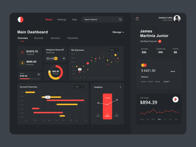 Dashboard UI red dark ui web app analytics dashboard ui web interface card ui payment wallets typography product design night mode dark dashboard design dashboard ui-ux clean ux ui