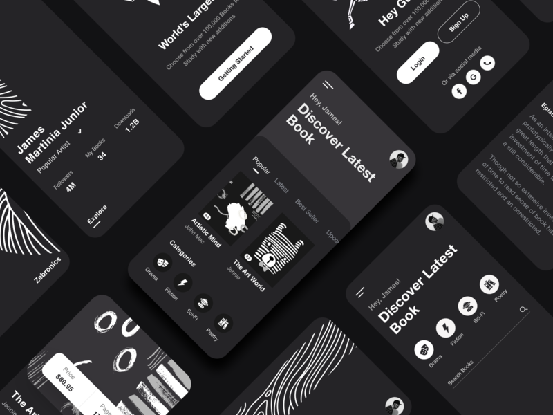 Mobile App UI Rebound branding zebra search pattern rebound night mode dark app black typography ios app ui product design login profile reading book app ui-ux clean ux ui