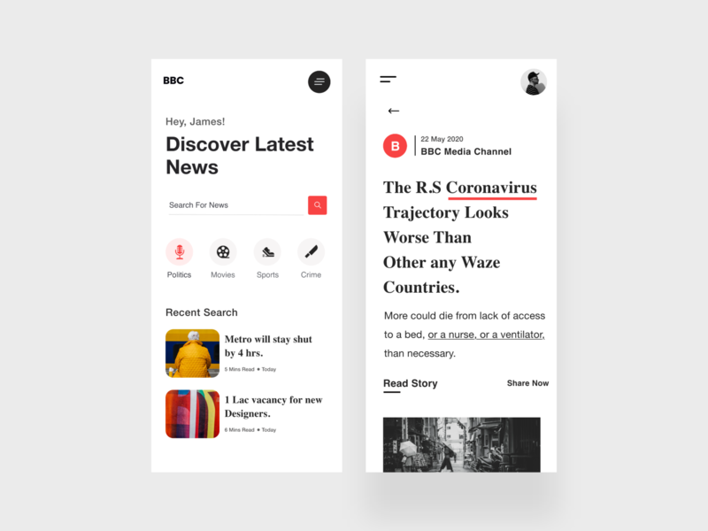 News / Blog UI filter white ui bloggers news user story search user experience userinterface ios reading app blog app news app xd branding product design white ui-ux clean ux ui