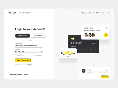 Login UI header split screen login screen card ui login page login user experience user interface website landing page branding typography product design design white ui-ux clean ux ui