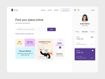 Visual Design | Search Domain user experience user inteface dashboard design dashboard ui dashboard credit card features search bar search domain analytics typography branding product design design white ui-ux clean ux ui