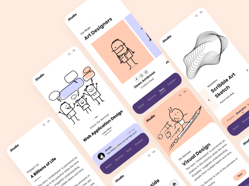 Mobile Website (Responsive View) navigation studio design agency services team aboutus search white ui clean design user experience user inteface ios responsive website responsive design mobile view landing page websites ui  ux ux ui