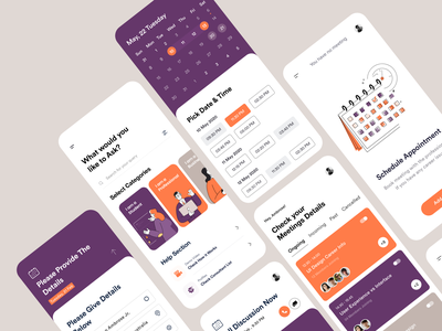 Mobile UI_ Day 1 book now time branding product design typogaphy mobile app design mobile app ios app ui design clean design user experience user interface call calendar consulting app booking schedule ux uiux ui
