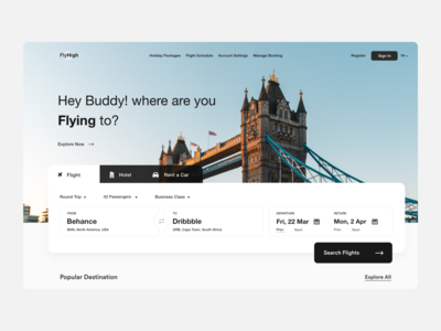 Flight Booking user inteface clean ui search header website flight booking app book hotel rent a car flight search flight booking flight app landing page branding user experience typography product design clean ui-ux ux ui