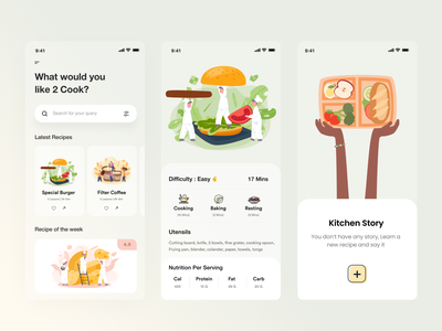 Food Recipe UI chef ui  ux ui design filter search kitchen online order food apps learning app recipe app recipe food app typography product design ios apps app ui user experience user interface uiux ui