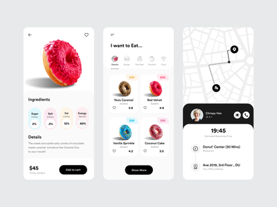 Donut UI pizza shopping app tracking app application product details product add to card food delivery app application ui app design card ui mobile ui mobile app ios app tracking donut shop online delivery uiux ui app