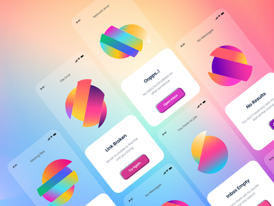 Empty UI gradient color app design empty space empty state mobile ui mobile app ios app ios card ui branding user experience design typography white product design clean ui-ux ux ui