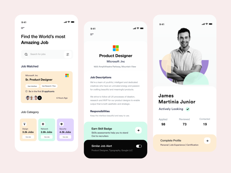 App UI job listing xd download user inteface mobile ui job search job application ios app profile card ui user experience typography white product design ui-ux clean ux ui job board