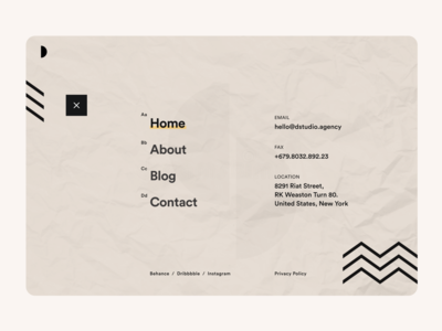 Menu_Design clean design uxdesign uidesign pattern black user experience user interface ui  ux menu design landing page website homepage social network contact social paper clean uiux ui menu