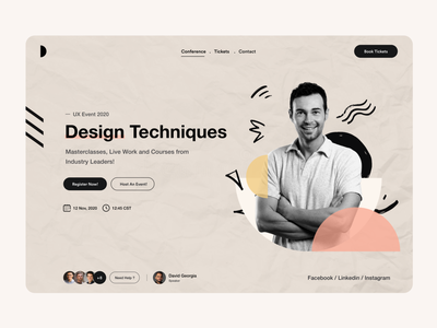 Web UI online class register website concept book ticket website design ux class conferences conference event landing page website user interface user experience typography white product design ui-ux ux clean ui