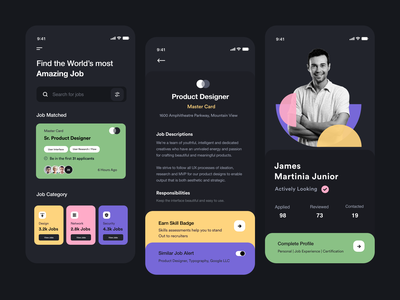 Dark Job UI mobile app design mobile ui ios app colors black dark mode card ui product page jobs profile job application job search job app user experience typography product design ui-ux clean ux ui