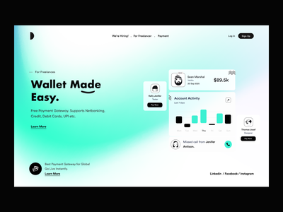 Landing UI app ui landing page dstudio green money app payment wallet website concept website design card ui hero header user interface user experience typography white product design ui-ux clean ux ui