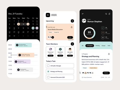 App UI task management task manager profile discussion book now meeting room calendar team task meeting app card ui user interface user experience typography white product design ui-ux clean ux ui
