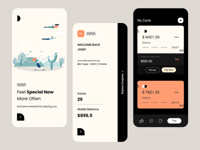 Wallet UI money user experience design user interface color light theme walletapp mobile app ios app credit card balance coupon points wallet typography user experience product design ui-ux clean ux ui