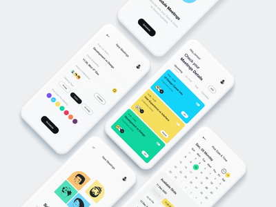 Meeting App UI colorful calendar profile filter form booking app create event mobile app mobile ui ios app meeting app user interface typography white user experience product design ui-ux clean ux ui