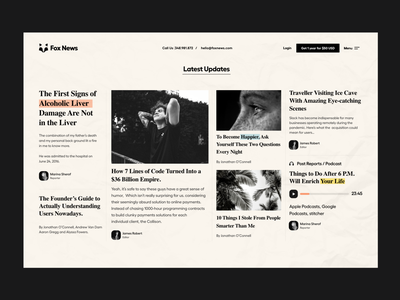 News Section website design blog story article podcast newsfeed landingpage news website newspaper news user interface white typography user experience product design ui-ux clean ux ui
