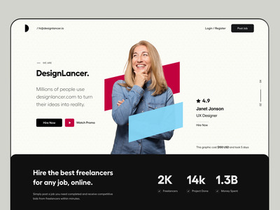 Website UI hire me freelancer job app job ui website landing page card ui user interface white typography user experience product design ui-ux clean ux ui